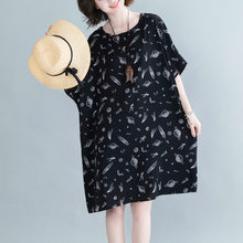 Batwing Sleeve Oversize Summer Dresses For Women Plus Size Chiffon Abstract Print Midi Dress Loose Vintage Dress 4XL 5XL 6XL 7XL()
