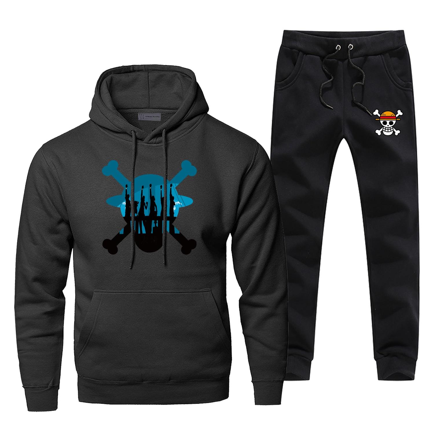 Luffy Hoodie Pants Set One Piece Men Sweatshirt Male Hoodies Sweatshirts Mens Sets Two Piece Pant Pullover Hoody Harajuku Coat