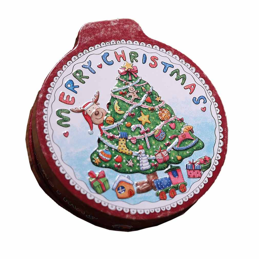 Round Bump Candy Box Christmas Decorations Storage Iron Box Christmas Candy Cans Children'S Gift Bucket Hat Cover Printing