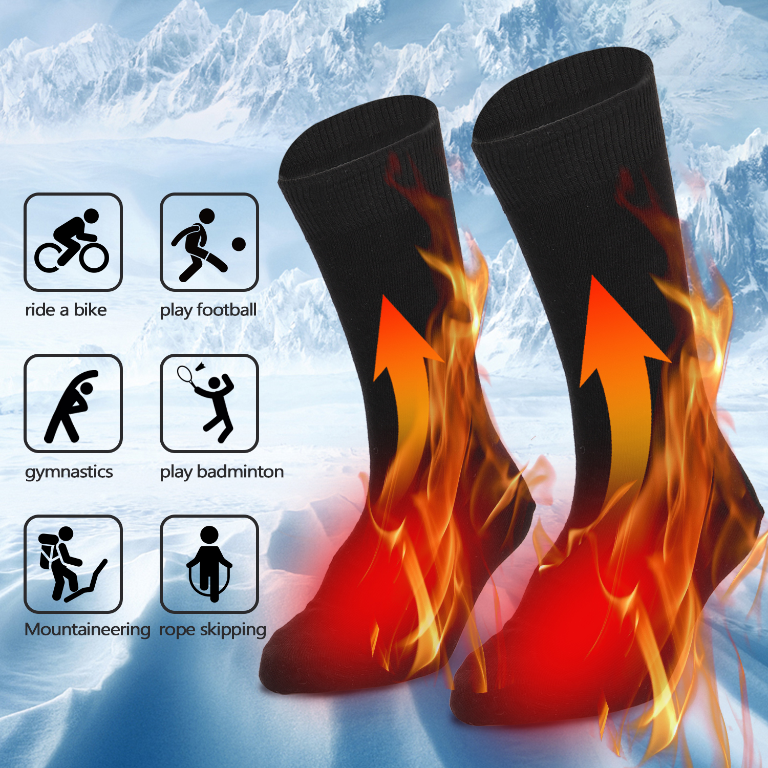 Electric Heated Socks Battery Powered Cold Weather Heat Socks for Men and Women Outdoor Riding Camping Hiking  Warm Winter Socks