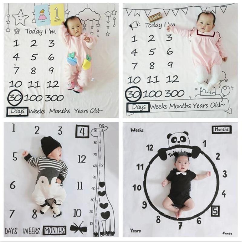Infant Baby Milestone Foto Requisiten Hintergrund Decken Spielen Matten Hintergrund Tuch Kalender Nordic foto requisiten Zubehör