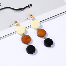 Korean Creative Geometric Round Wooden Earrings Temperament Simple Wood Wild Personality Log Accessories