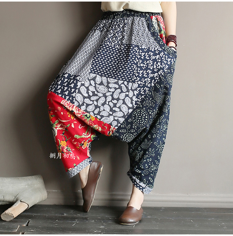 Original folk style women's retro stitching old cotton and linen material shift pants women loose large size baggy pants 42