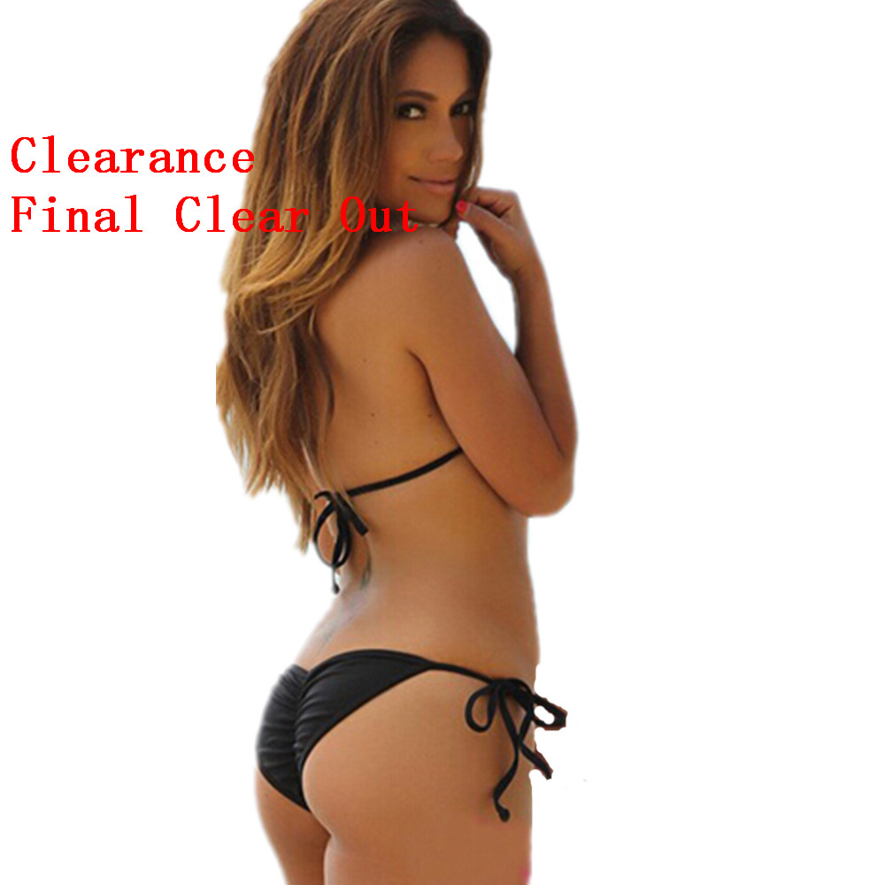 Clearance Sales-- Bandage Brazilian Bikini Swimwear Push Up Pad/Scrunch Bottom Butt Swimsuit Women Thong G-string Bath Suit DROP