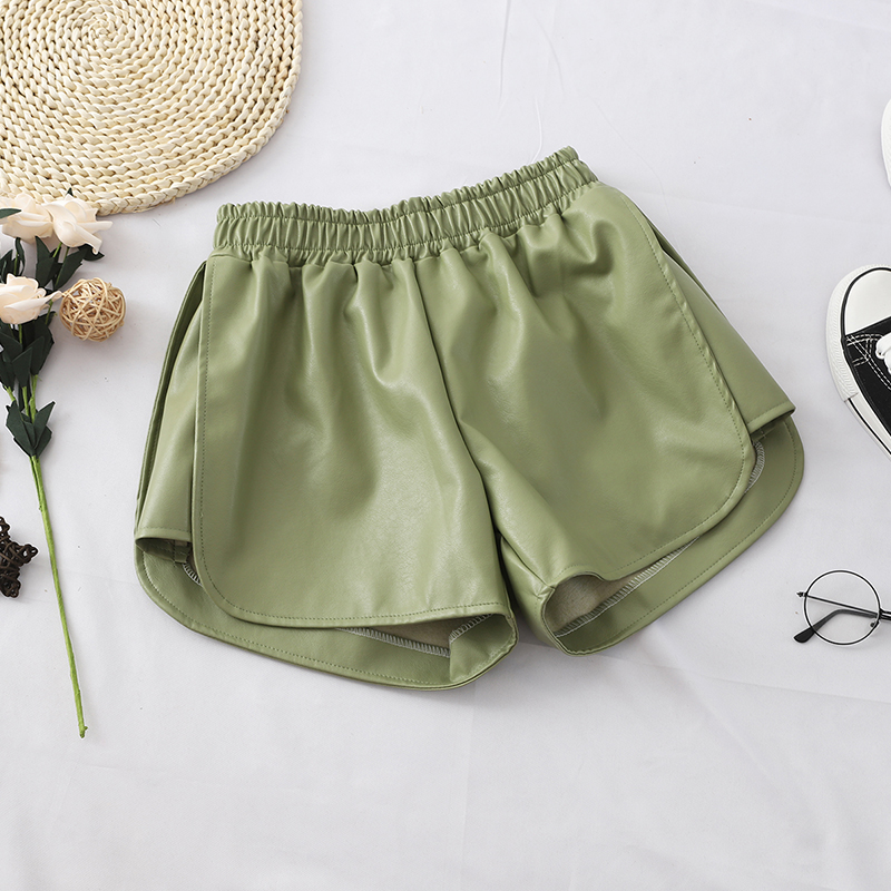 HELIAR Women Green Leather Elastic Waist Shorts Outerwear Sexy Hot Shorts Wide Leg Woman Night Club Shorts 2019 Autumn