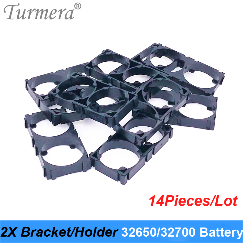 Turmera 32650 32700 2x Battery Bracket Cell Safety Anti Vibration Plastic Brackets For 32650 32700 Battery Pack 14pieces
