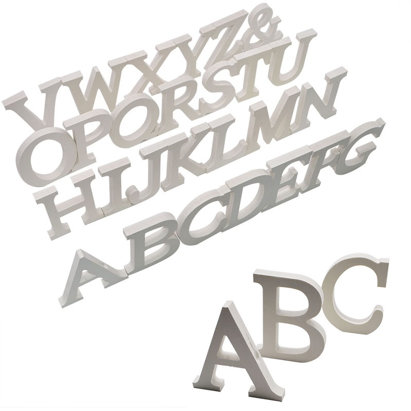 1pc Wood Wooden Letter White English Alphabets Decorative Gift Ornaments Word Name Design for Wedding Birthday Party Decoration