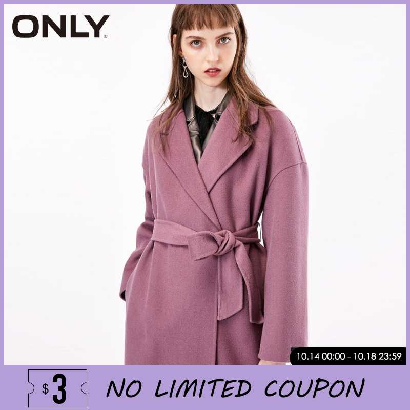 ONLY Women Covered Button Belted Double-faced  Wool Coat Overcoat | 11836U506