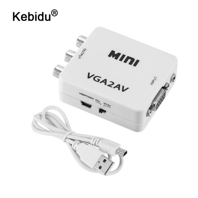 Kebidu HD 미니 VGA AV RCA 오디오 변환기 VGA2AV/CVBS 어댑터 3.5mm PC TV HD 컴퓨터 TV VGA AV 변환기