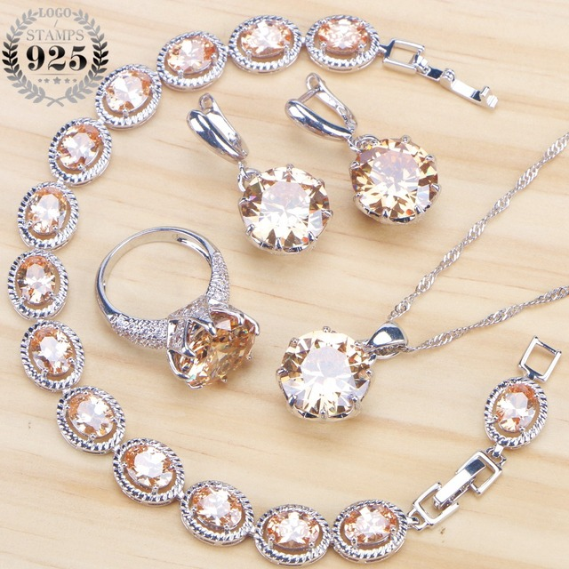 Champagne Cubic Zirconia Bridal Jewelry Sets Earrings For Women Silver 925 Jewelry With Necklaces & Pendants Rings Bracelet Set