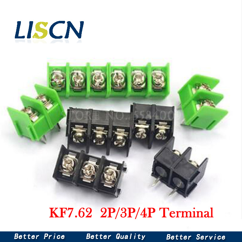 100PCS/lot 7.62 mm KF7.62 - 2P 3P 4P MG 762 - <font><b>2</b></font> 3 <font><b>4</b></font> <font><b>Pin</b></font> Can be spliced Screw Terminal Block Connector Black Green 7.62mm Pitch image