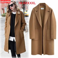 Womens Woollen Overcoat plus size Fashion Loose Winter Warm Long Sleeve Woolen Jacket Coat ouc313