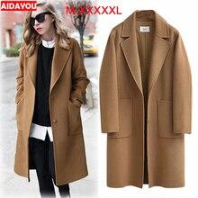 Womens Woollen Overcoat plus size Fashion Loose Winter Warm Long Sleeve Woolen Jacket Coat ouc313