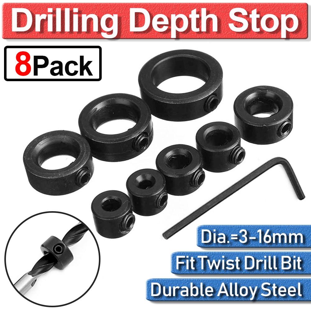 8pcs Drill Bit Shaft Depth Stop Ring Positioner Collar Set Locator Tool 3/4/5/6/8/10/12/16mm Woodworking Drill Stop Locator D35