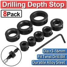 цена на 8pcs Drill Bit Shaft Depth Stop Ring Positioner Collar Set Locator Tool 3/4/5/6/8/10/12/16mm Woodworking Drill Stop Locator D35