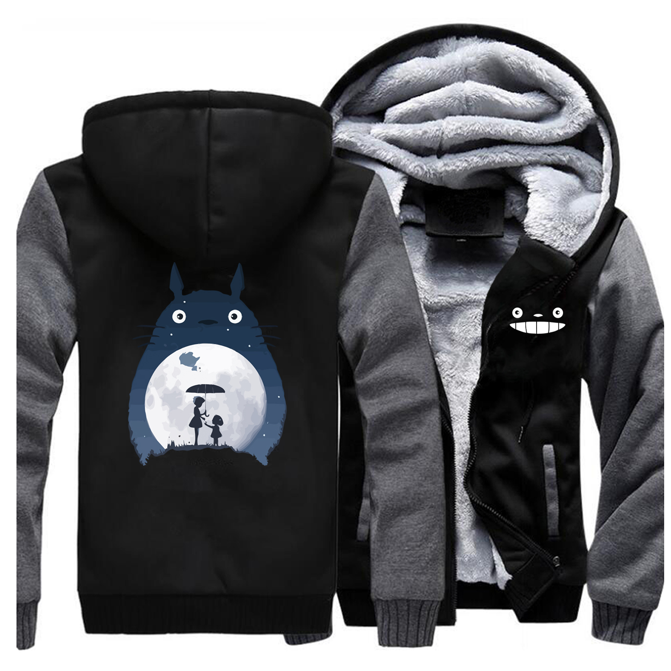 Image 5 - Tonari No Totoro Men Thick Hoodies Sweatshirts Fleece Warm Zipper Coa Vintage Japanese Anime Jacket Streetwear Winter Hoodie-in Hoodies & Sweatshirts from Men's Clothing
