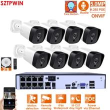 H.265 + 8CH 5MP POE نظام الكاميرا الأمنية عدة الصوت سجل Rj45 IP كاميرا الأشعة تحت الحمراء في الهواء الطلق مقاوم للماء CCTV المراقبة بالفيديو NVR مجموعة