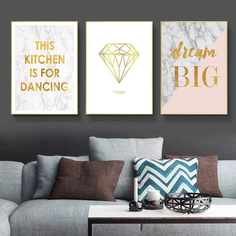 Nordic Minimalist Wall Art Pictures Marbling and Golden Letters Print Canvas Painting Living Room Wall Decor Posters and Prints