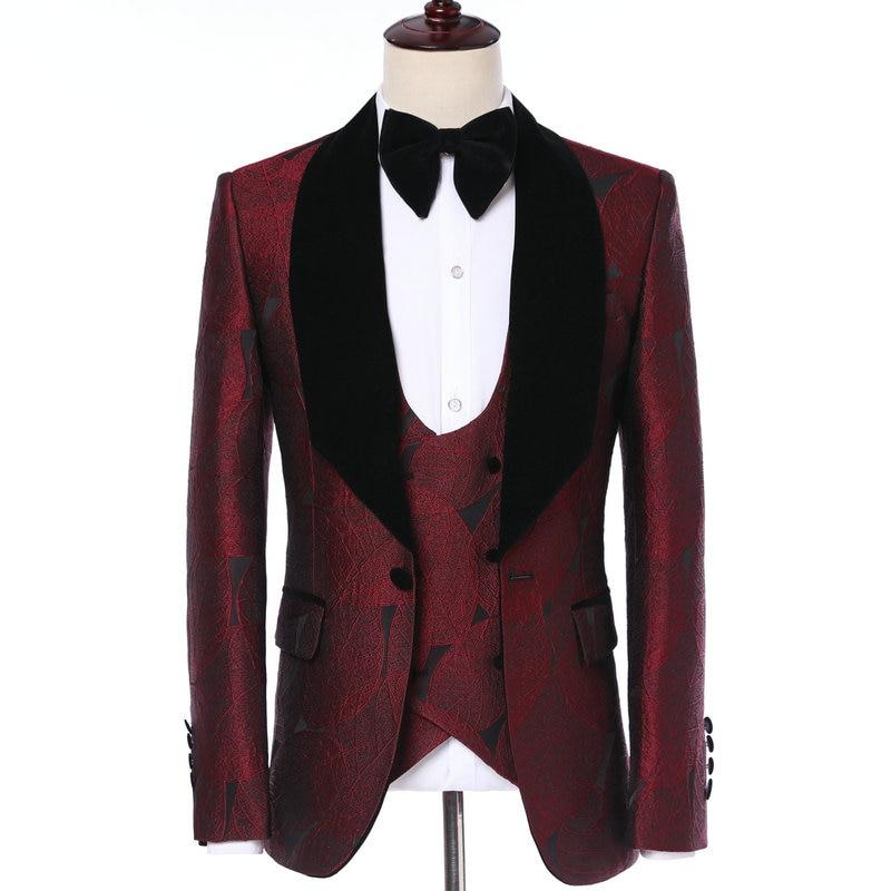 Элегантное платье жениха 2019, классический итальянский смокинг, дизайнерские бордовые листочки, вельветовые отвороты, мужские свадебные костюмы, смокинги для вечеринок