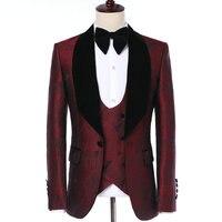 Elegant Groom Dress 2019 Classic Italian Tuxedo Suit Design Burgundy Leaves Velvet Lapel Men Suits For Wedding Party Tuxedos