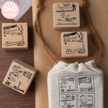 Mr Paper 4pcs/pack Vintage Retro Memory Style Hop-pocket Wooden Rubber Stamps for Scrapbooking Deco DIY Craft Wooden Stamps
