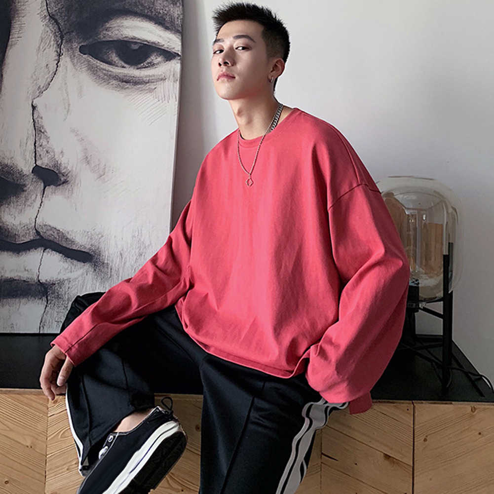 Men Casual T-shirt Solid Color O Neck Long Sleeve Side Slitting Loose Cotton Top Solid Casual T-shirt Colorful Oversize T Shirt