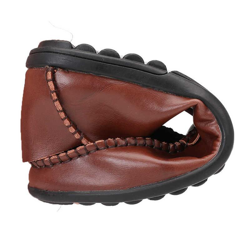 Erkekler tasarımcı erkek rahat ayakkabılar marka hakiki bölünmüş deri ayakkabı İtalya erkekler Sneakers kaymaz loafer'lar Flats sürüş erkek ayakkabısı