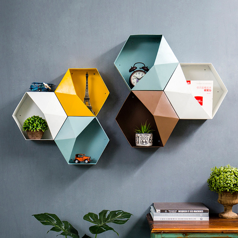 Colour Metal Hexagonal Hanging Shelf Modern Personalized Geometry Pattern Living Room Wall Decore Sundry Storage Holders Crafts