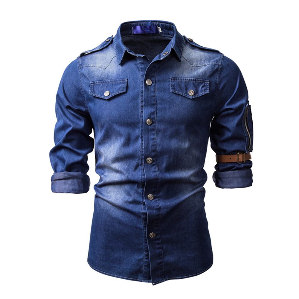 Washed Denim Shirts Men Long Sleeve Lapel Jeans Tops Biker Blouses Spring Autumn Men's Motorcycle Denim Shirt High Quality D25