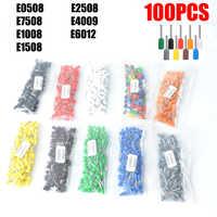 Caja de empalme aislante E0508, E7508, E1008, E1508, E2508, caja de empalme, Conector de cable de extremo del cable, terminal de prensado, 100 unidades por paquete