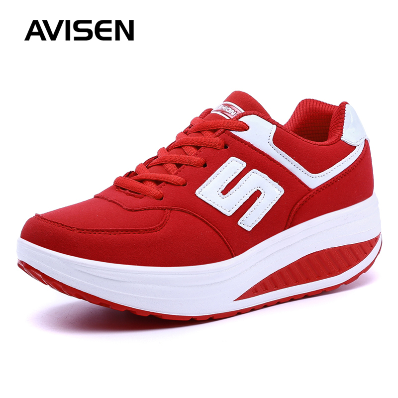 2019 Casual Flat Platform Shoes Women Fashion Solid Color Lace-Up Woman Platform Sneakers Comfortable Ladies Swing Wedges Shoes