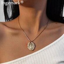 Goth virgem maria círculo pingente gargantilha colar imitação pérola anjo moeda cobra longa corrente colar moda feminina jóias 2020