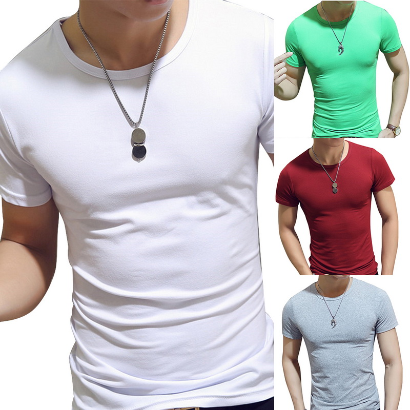 2020 Running T-Shirts Men Quick Dry Fitness Sports Bodybuilding Tee Simple Solid O-neck Sporting Tee Tops Shirts