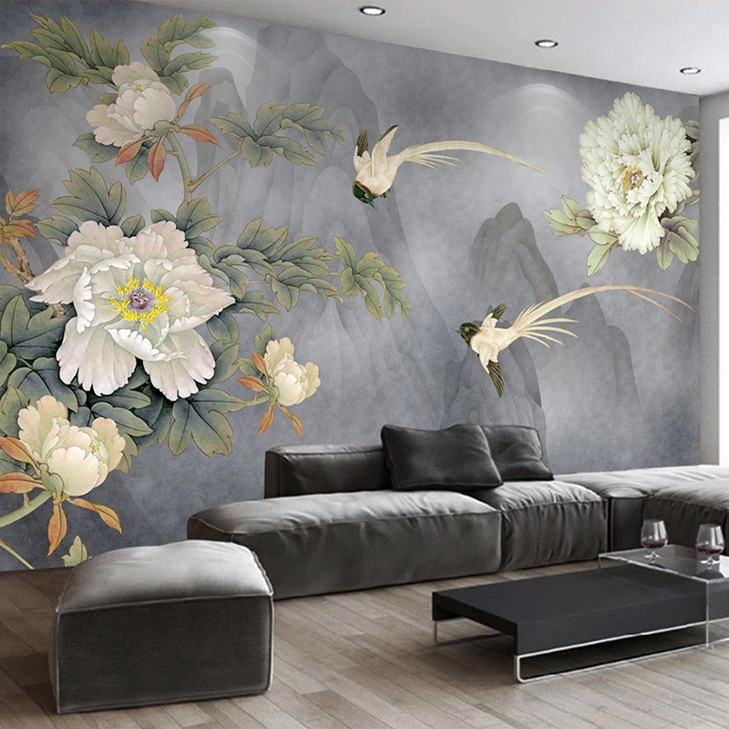 Personalizado 3d foto papel de parede estilo chinês peônia flor pássaro pintura quarto estudo sala estar sofá tv fundo decoração mural