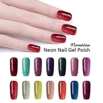Verntion Color Nail Gel neonowy żelowy lakier do paznokci 7ml Soak Off długotrwały lakier żelowy uv potrzeba tłoczenia wierzch i warstwa podstawowa podkład do paznokci