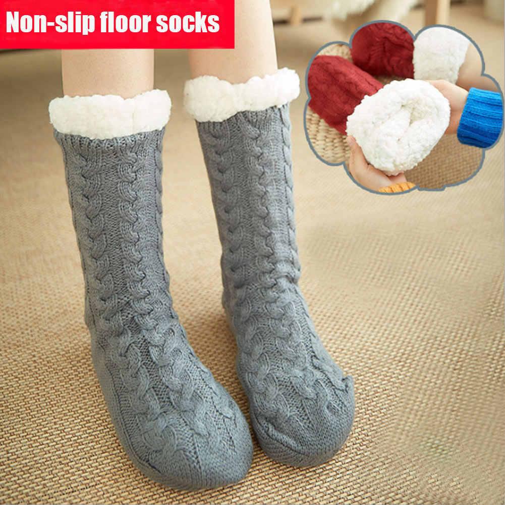 Yumuşak kalın sıcak kar tanesi terlik çorap kış örgü polar hamile kadın erkek ev ofis çorapları-OPK