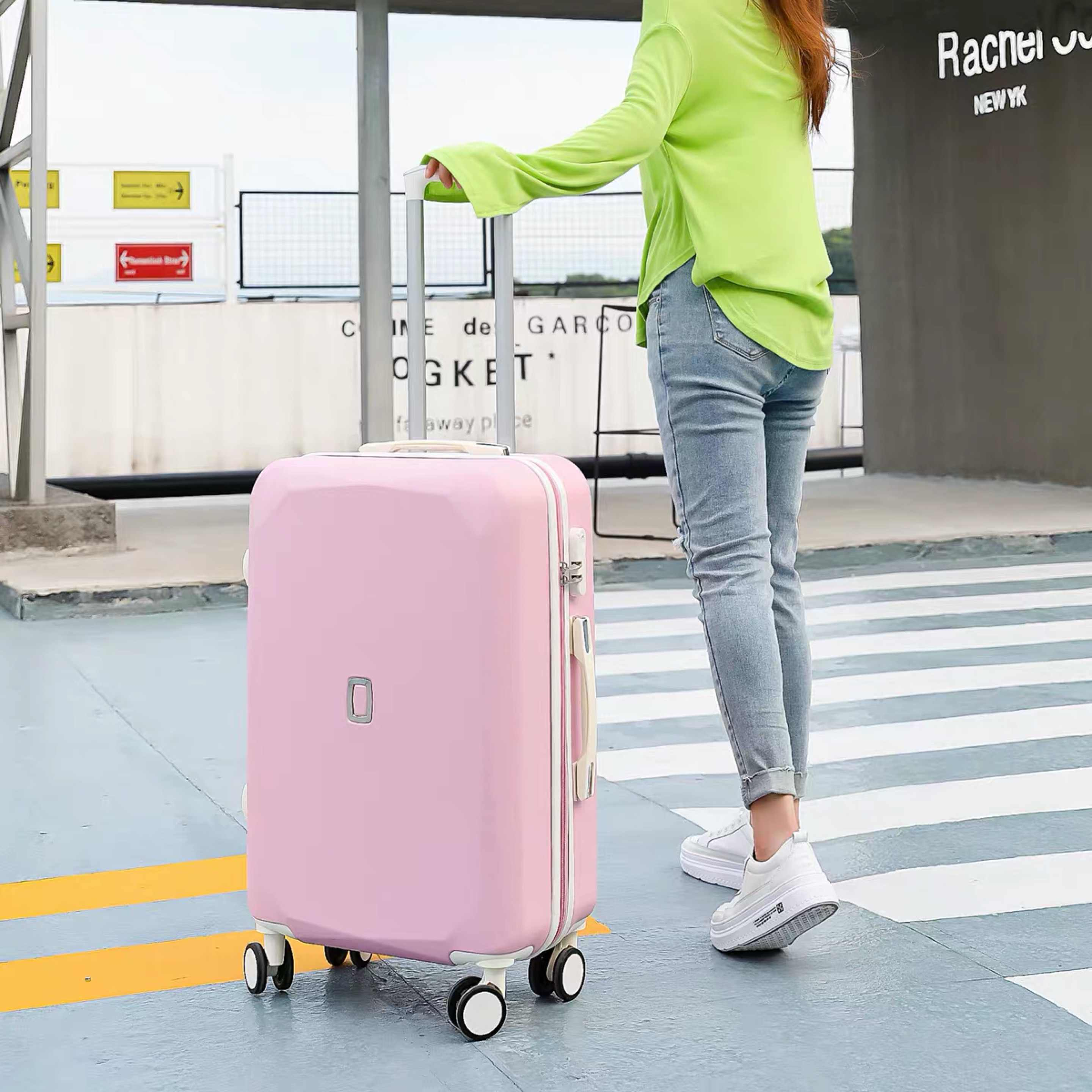 Color : Silver Runtongshanghang Zebra Pattern Suitcase Female Small Fresh Korean Version of College Students Trolley Case Universal Wheel Password Suitcase 20 Inch