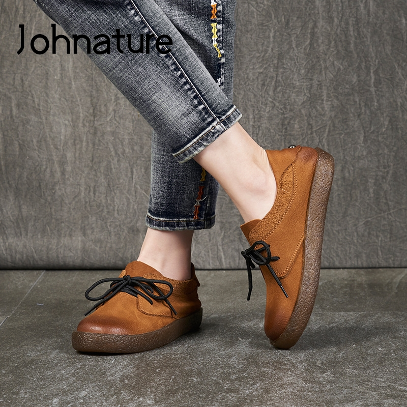 Johnature 2020 New Spring Flats Women Shoes Handmade Lace-up Genuine Leather Round Toe Sewing Casual All-match Ladies Shoes