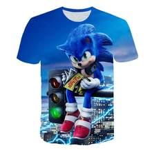 T-shirt bleu pour enfants, Sonic hrisson, t-shirt imprim en 3D, Streetwear pour enfants, garons et filles, t-shirt mignon,
