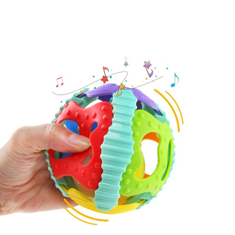 HobbyLane Baby Soft Hollow Ball Colorful Flash Rattle Teether Ball For Boys And Girls Random Color