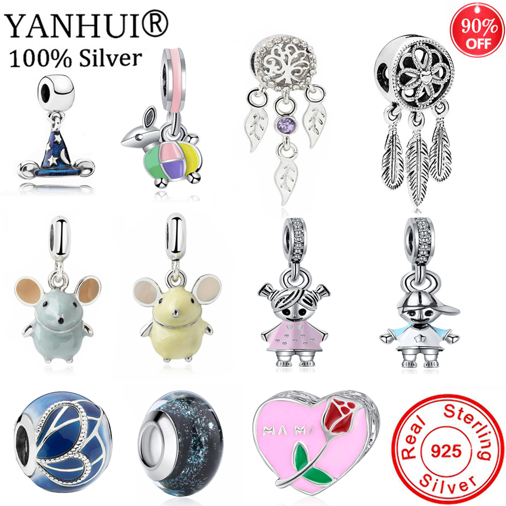 YANHUI 2020 New Design Original 925 Sterling Silver Beads Charms Pendants Fit Original Charms Bracelets DIY Gift Jewelry C011