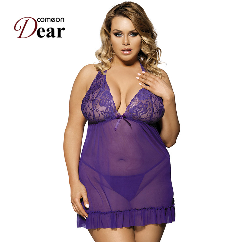 Comeondear Women Plus Size <font><b>7XL</b></font> Babydoll Lace Open Back <font><b>Sexy</b></font> Nightwear Hot See Through <font><b>Sexy</b></font> <font><b>Lingerie</b></font> Dress + G string RA70098 image