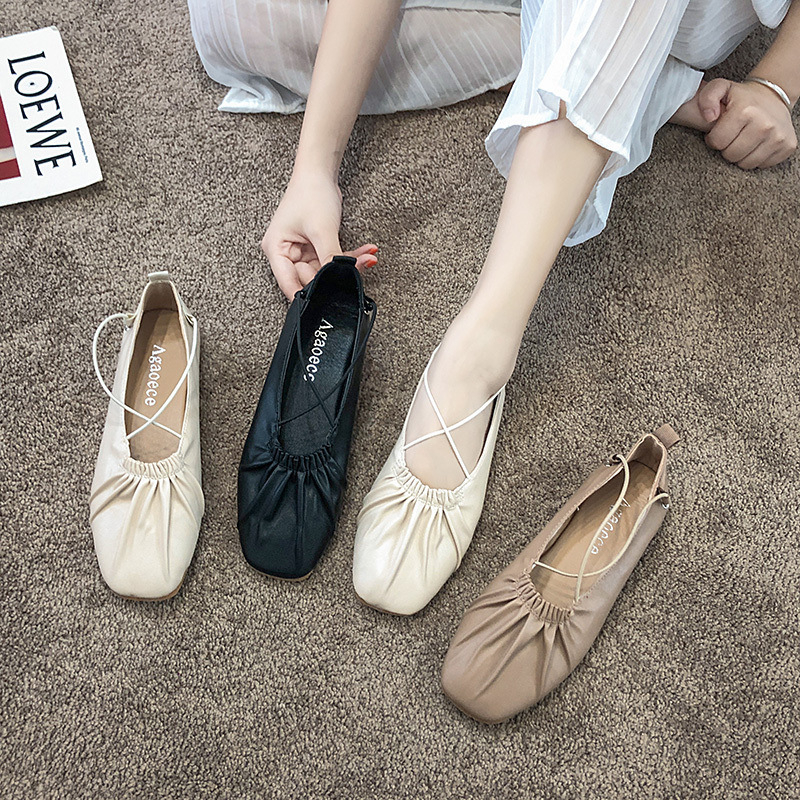 New Leisure Leather Sewing Skate Shoes Flat Women Shoes Ballet Lace Up Concise Sneaker Women Flats Casual Shoes