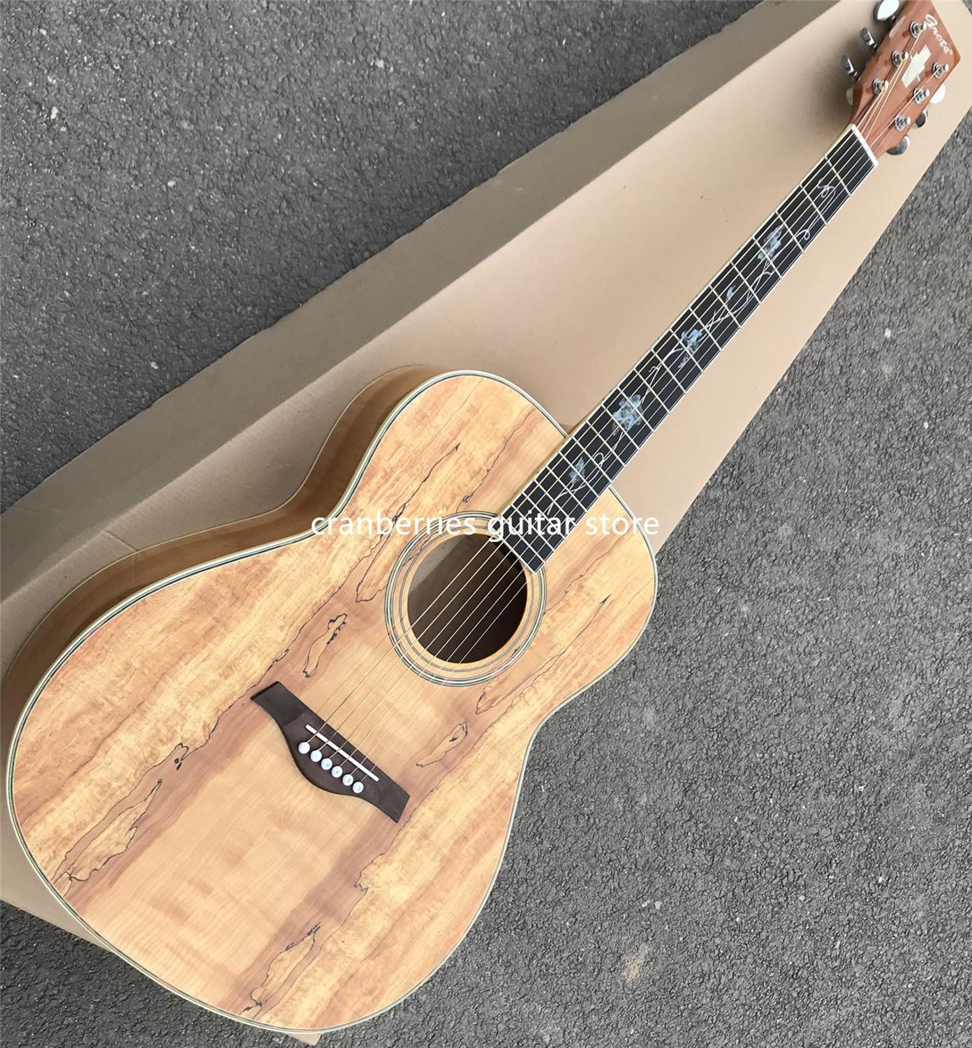 2020 Grote Tendrils Serie,All Koa Wood Acoustic Guitar,real Abalone Inlay Map Grain Top Acoustic Guitar,Free Shipping
