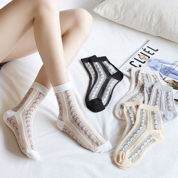 New Arrival Flowers Retro Women Socks Breathable Crew Spring Summer 1 Pair Dropshipping Supplies