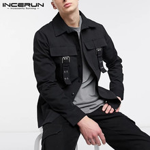 Fashion Men Shirt Solid-Color Long-Sleeve Incerun-7 Casual Tops Camisas Turn-Down-Collar