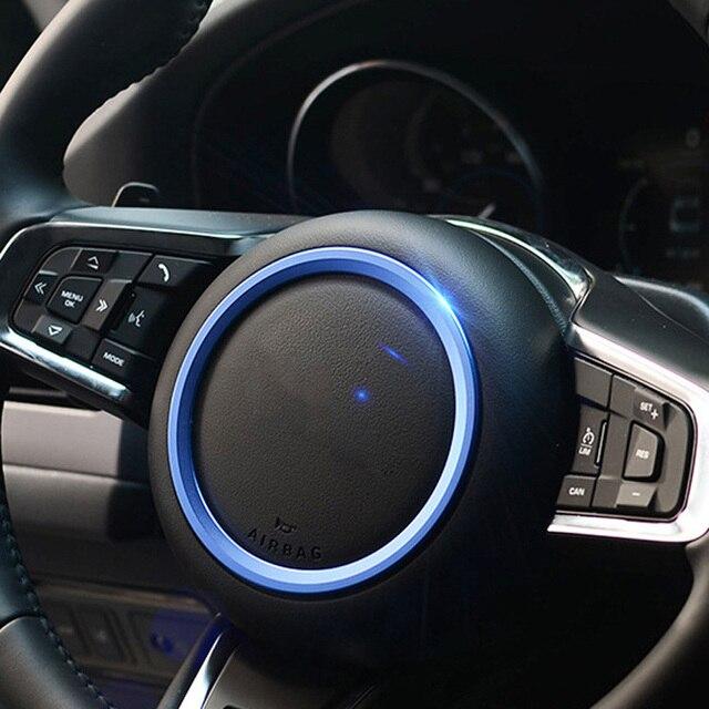 For Jaguar XE X760 XF X260 F-Pace X761 E-PACE F-TYPE Aluminum Alloy Car Steering Wheel Decoration Ring Sticker Logo Frame Trim 2