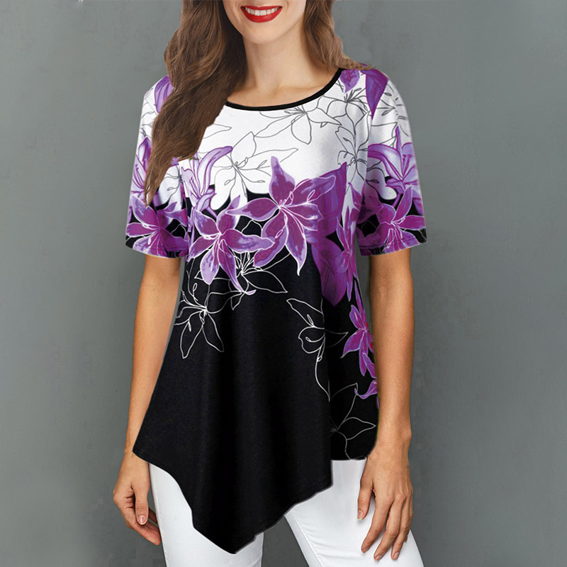 Short Sleeve Floral Printed Women's Tunic Blouses 2020 Summer O-Neck Casual Female Tunic Loose Irregular Hem Lady Blouse Tops