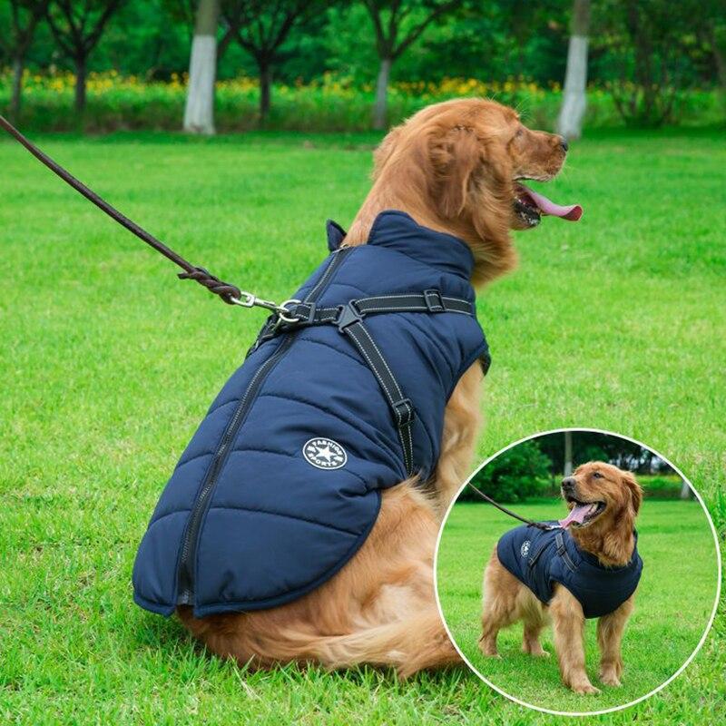 Большая куртка для собак с ремнем, зимняя теплая одежда для собак для Лабрадора, водонепроницаемая куртка для больших собак, одежда для чихуахуа, французского бульдога-2
