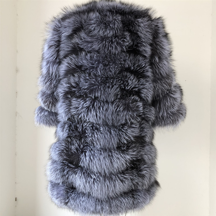 100% Natural Real Fox Fur Coat Women Winter Genuine Vest Waistcoat Thick Warm Long Jacket With Sleeve Outwear Overcoat plus size 39